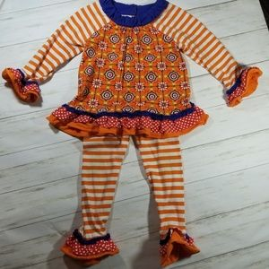 Rare Editions Girls Ruffle Outfit Orange & Blue 4T